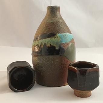 Saki Set, Wood fired stoneware
